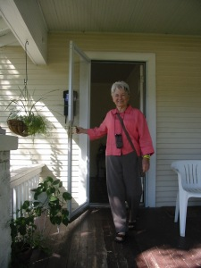 mary on porch